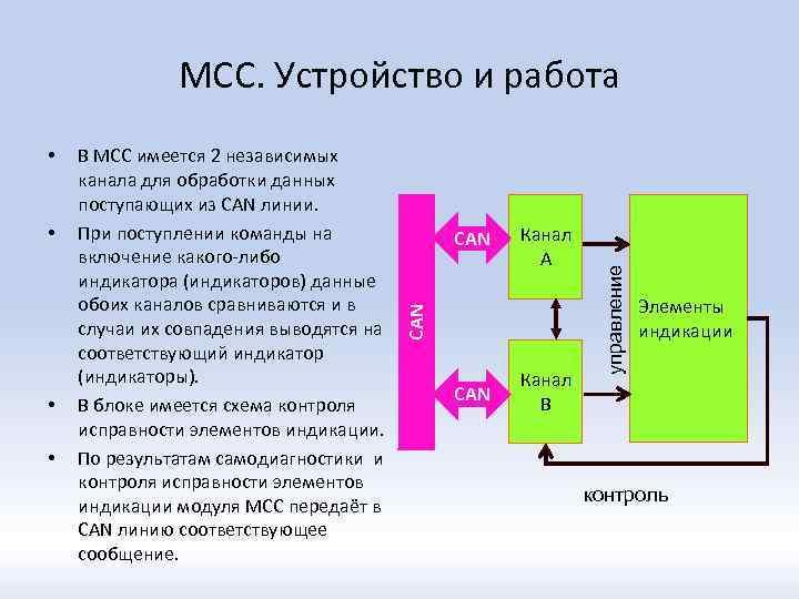 • • • В МСС имеется 2 независимых канала для обработки данных поступающих
