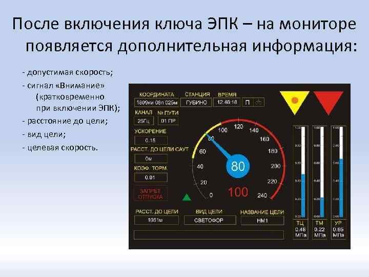 После включения ключа ЭПК – на мониторе появляется дополнительная информация: - допустимая скорость; -