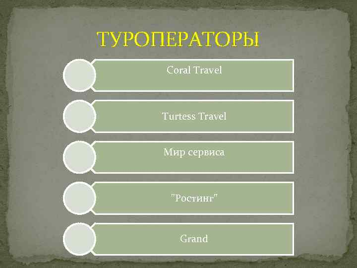 ТУРОПЕРАТОРЫ Coral Travel Turtess Travel Мир сервиса