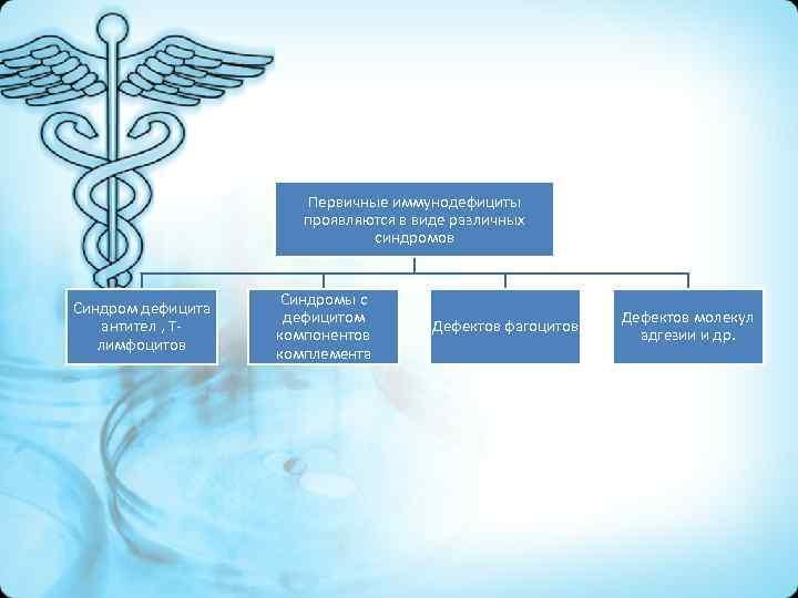 Первичные иммунодефициты проявляются в виде различных синдромов Синдром дефицита антител , Тлимфоцитов Синдромы