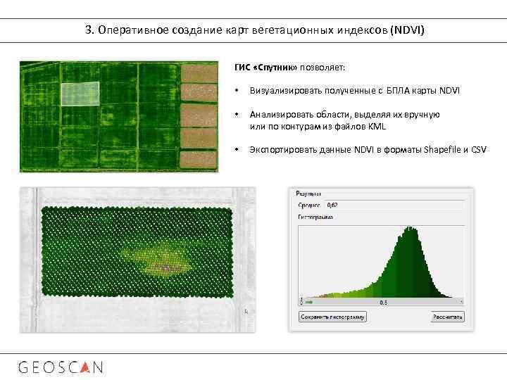 3. Оперативное создание карт вегетационных индексов (NDVI) ГИС «Спутник» позволяет: • Визуализировать полученные с