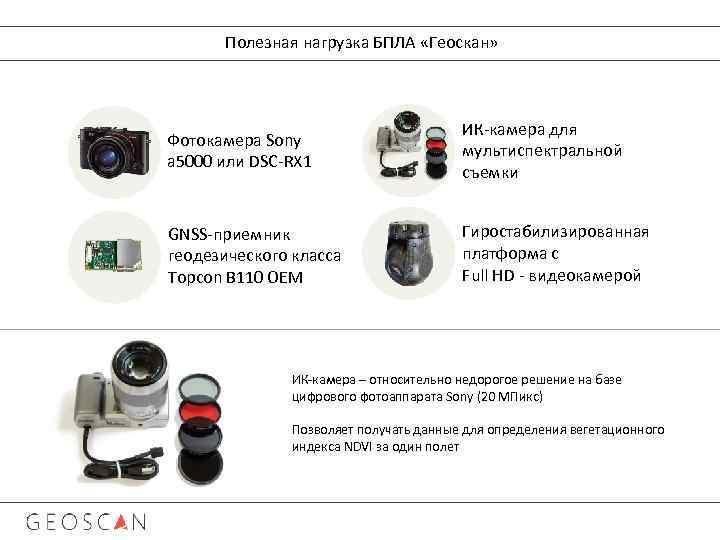 Полезная нагрузка БПЛА «Геоскан» Фотокамера Sony a 5000 или DSC-RX 1 ИК-камера для мультиспектральной