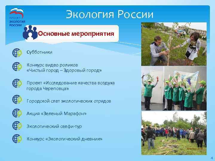 Экология России Основные мероприятия Субботники Конкурс видео роликов «Чистый город – Здоровый город» Проект