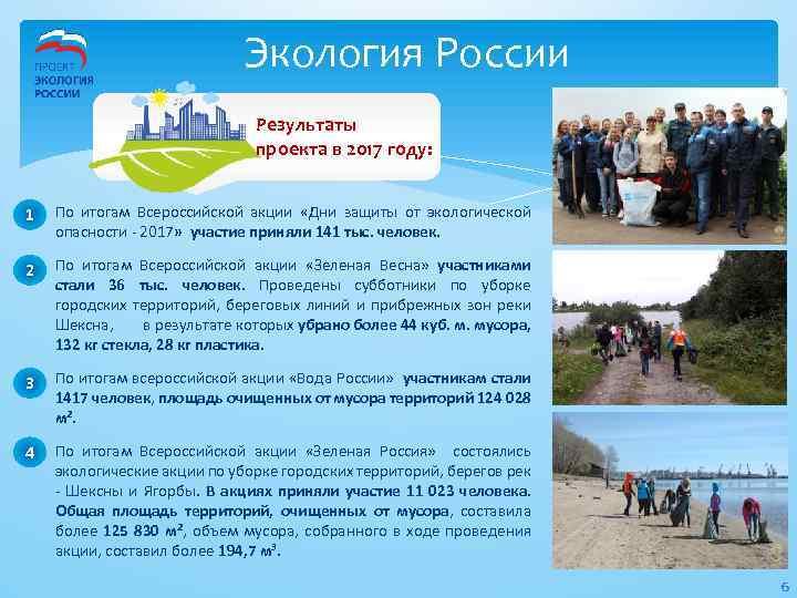 Экология России Результаты проекта в 2017 году: 1 По итогам Всероссийской акции «Дни защиты