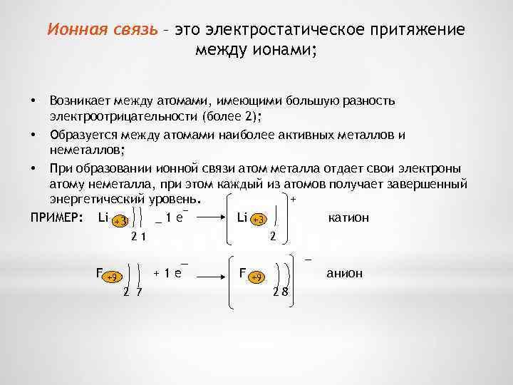 Ионная связь – это электростатическое притяжение между ионами; Возникает между атомами, имеющими большую разность