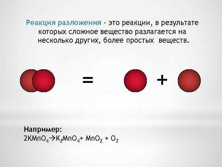 Реакция разложения - это реакции, в результате которых сложное вещество разлагается на несколько других,