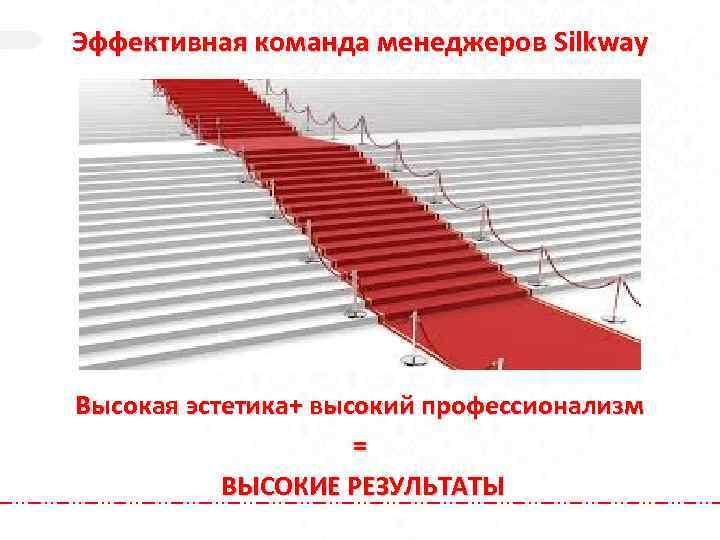 Эффективная команда менеджеров Silkway Высокая эстетика+ высокий профессионализм = ВЫСОКИЕ РЕЗУЛЬТАТЫ
