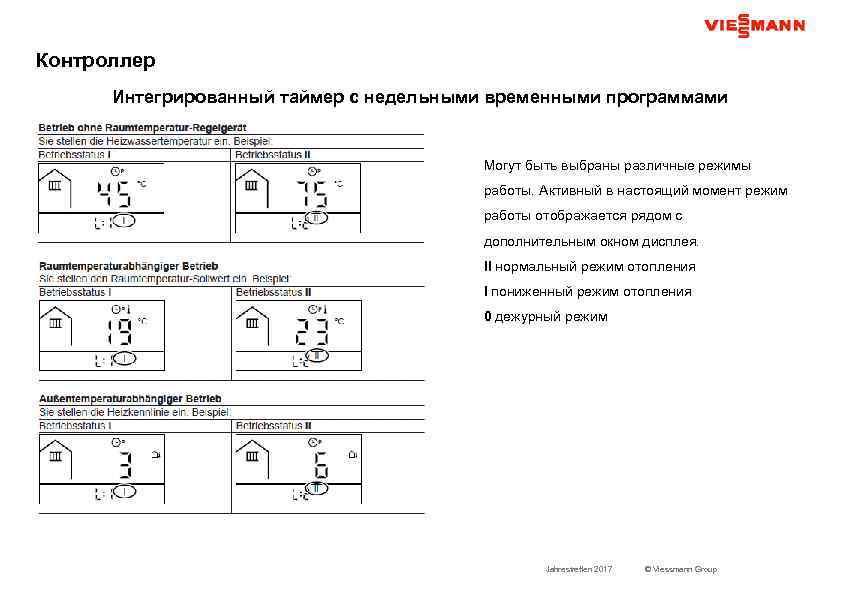 Контроллер Интегрированный таймер с недельными временными программами Могут быть выбраны различные режимы работы. Активный