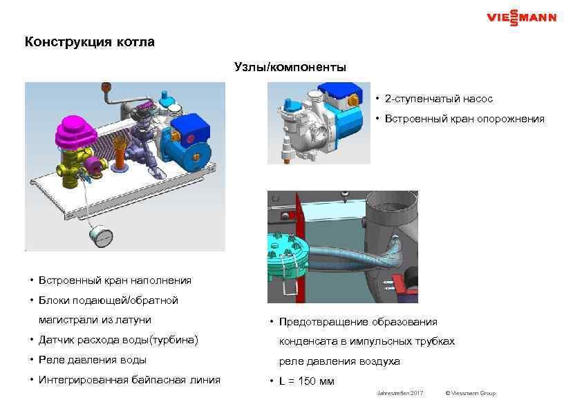 Конструкция котла Узлы/компоненты • 2 -ступенчатый насос • Встроенный кран опорожнения • Встроенный кран