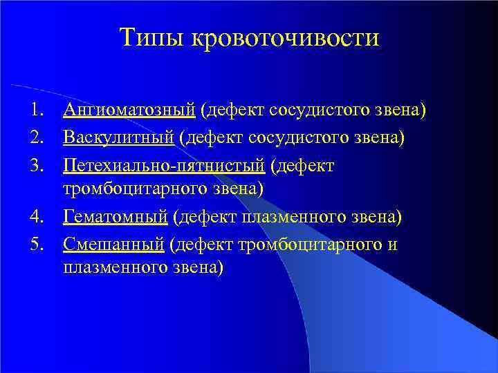 Типы кровоточивости 1. Ангиоматозный (дефект сосудистого звена) 2. Васкулитный (дефект cосудистого звена) 3. Петехиально-пятнистый