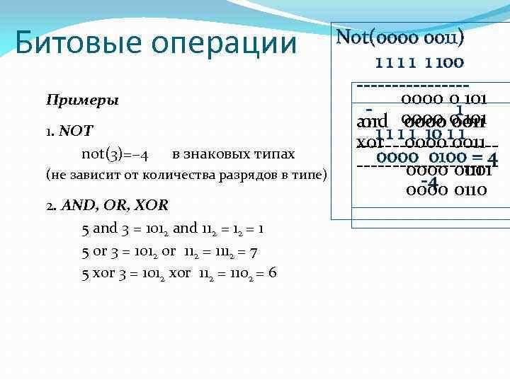 Битовые операции Примеры 1. NOT not(3)=− 4 в знаковых типах (не зависит от количества