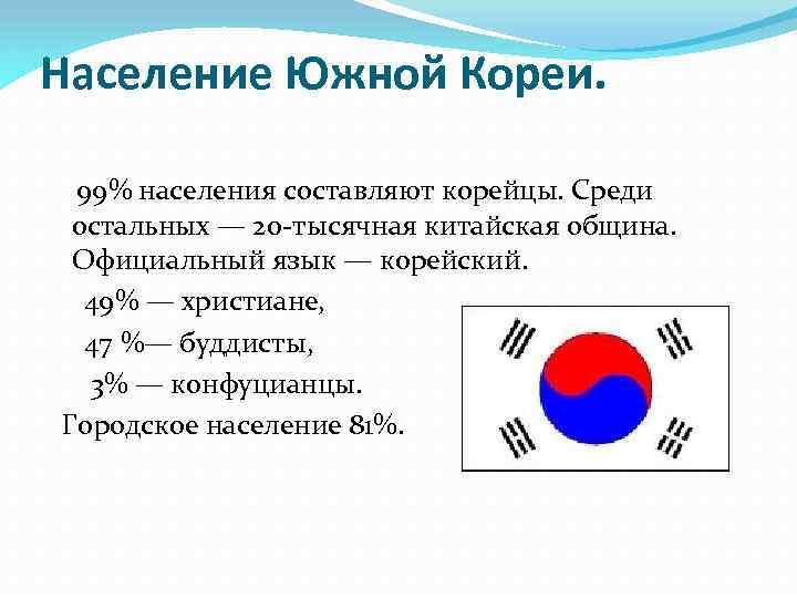 Население Южной Кореи. 99% населения составляют корейцы. Среди остальных — 20 -тысячная китайская община.
