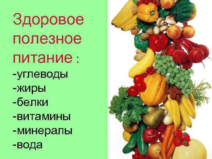 Здоровое полезное питание : -углеводы -жиры -белки -витамины -минералы -вода