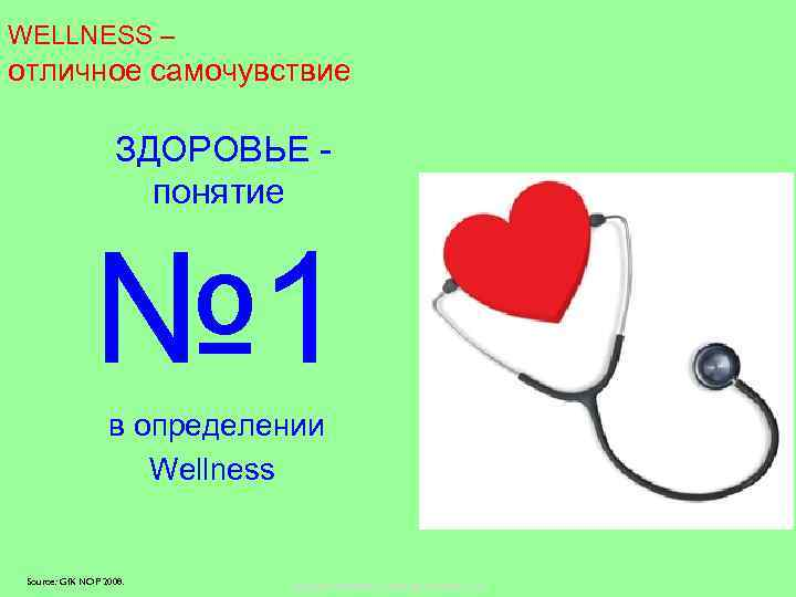 WELLNESS – отличное самочувствие ЗДОРОВЬЕ понятие № 1 в определении Wellness Source: Gf. K
