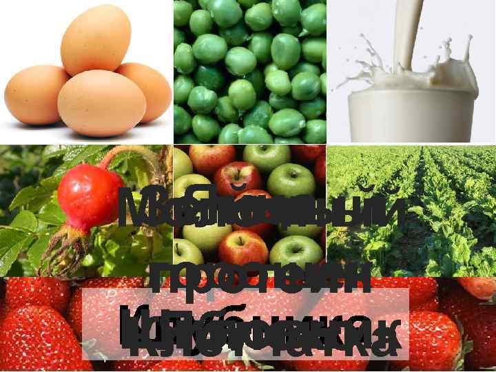 Яйца Зеленый Молочный горошек протеин Клубника Шиповник Яблоко Клетчатка