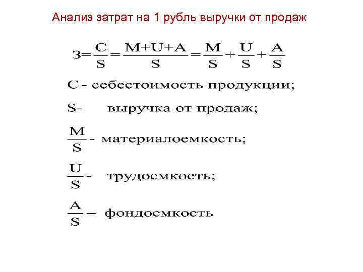 Анализ затрат на 1 рубль выручки от продаж