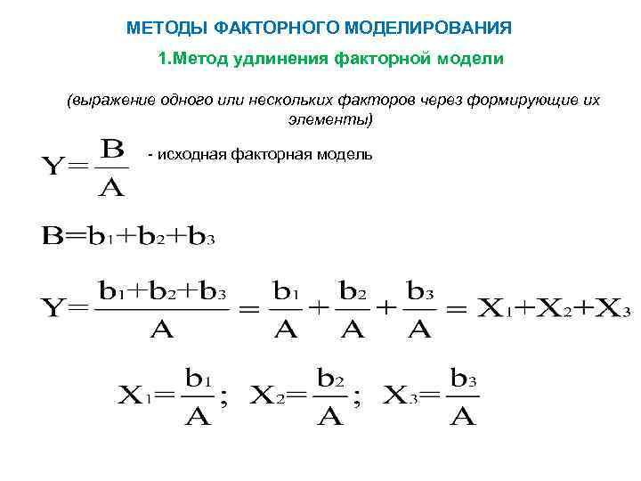 МЕТОДЫ ФАКТОРНОГО МОДЕЛИРОВАНИЯ 1. Метод удлинения факторной модели (выражение одного или нескольких факторов через