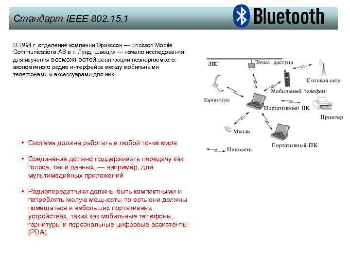 Стандарт IEEE 802. 15. 1 В 1994 г. отделение компании Эрикссон — Ericsson Mobile