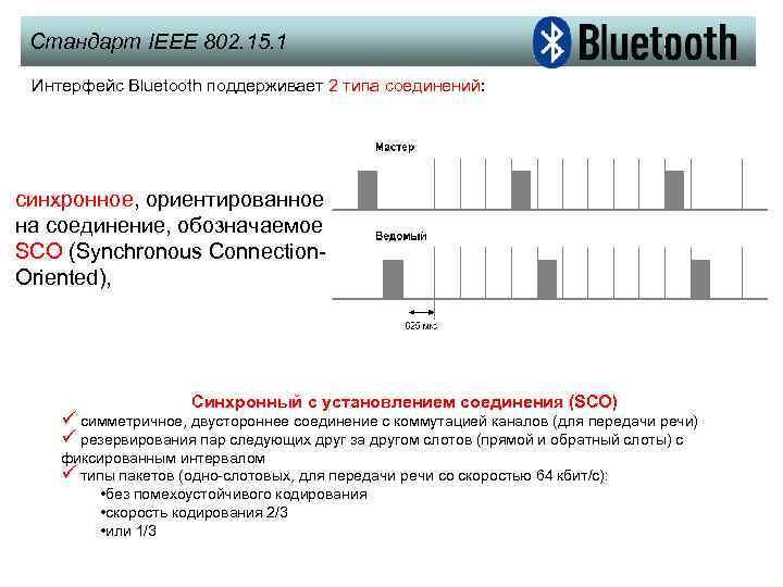 Стандарт IEEE 802. 15. 1 Интерфейс Bluetooth поддерживает 2 типа соединений: синхронное, ориентированное на