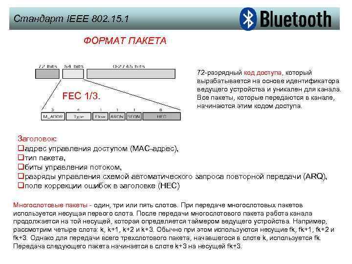 Стандарт IEEE 802. 15. 1 ФОРМАТ ПАКЕТА FEC 1/3. 72 -разрядный код доступа, который