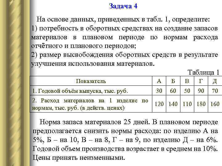 Решение задач на сумму высвобождения оборотных средств задачи с решениями ответ 6 букв