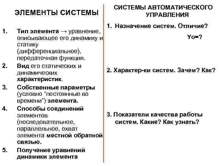 ЭЛЕМЕНТЫ СИСТЕМЫ 1. 2. 3. 4. 5. СИСТЕМЫ АВТОМАТИЧЕСКОГО УПРАВЛЕНИЯ 1. Назначение систем. Отличие?