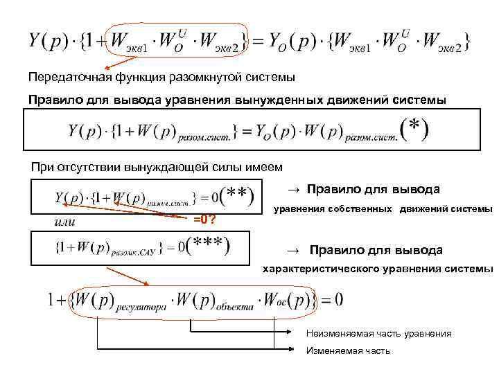 Передаточная функция разомкнутой системы Правило для вывода уравнения вынужденных движений системы При отсутствии вынуждающей