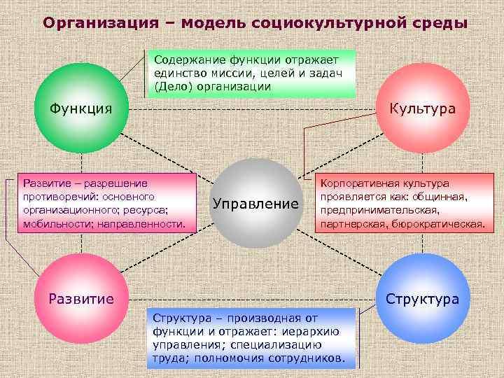 Организация – модель социокультурной среды Содержание функции отражает единство миссии, целей и задач (Дело)