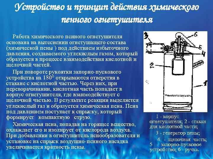 Устройство и принцип действия химического пенного огнетушителя Работа химического пенного огнетушителя основана на вытеснении