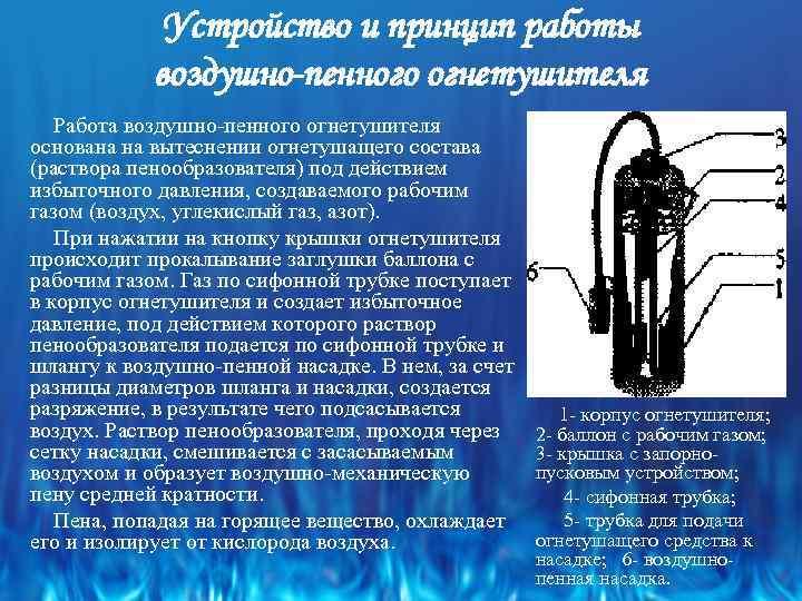 Устройство и принцип работы воздушно-пенного огнетушителя Работа воздушно пенного огнетушителя основана на вытеснении огнетушащего