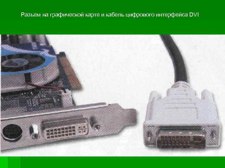 Разъем на графической карте и кабель цифрового интерфейса DVI