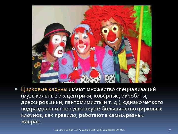 Цирковые клоуны имеют множество специализаций (музыкальные эксцентрики, ковёрные, акробаты, дрессировщики, пантомимисты и т.