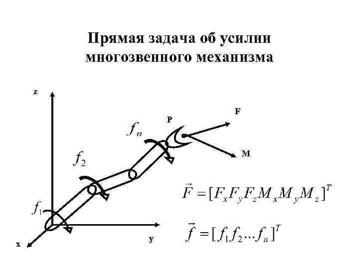 Прямая задача об усилии многозвенного механизма z P F M x y