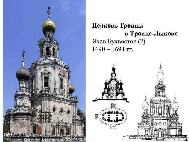 Церковь Троицы в Троице-Лыкове Яков Бухвостов (? ) 1690 – 1694 гг.