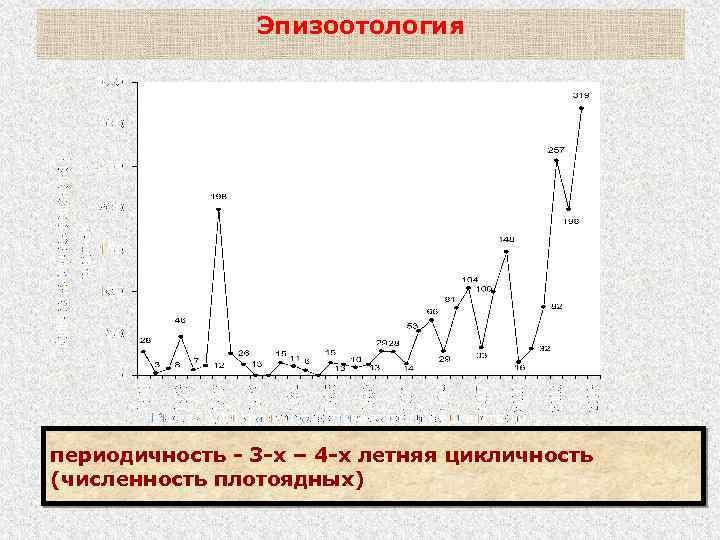Эпизоотология периодичность - 3 -х – 4 -х летняя цикличность (численность плотоядных)