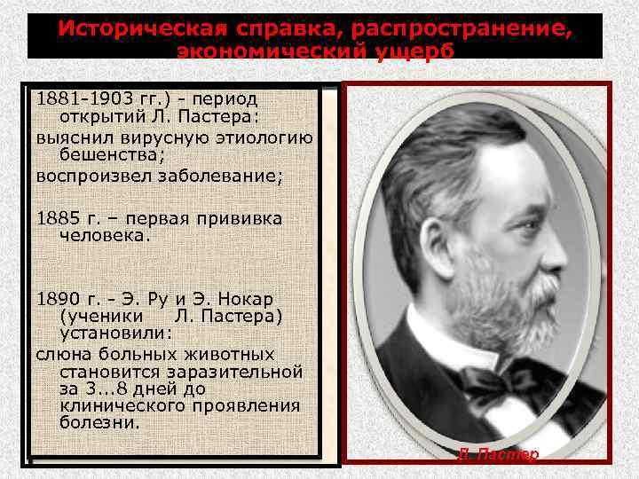 Историческая справка, распространение, экономический ущерб 1881 -1903 гг. ) - период открытий Л. Пастера: