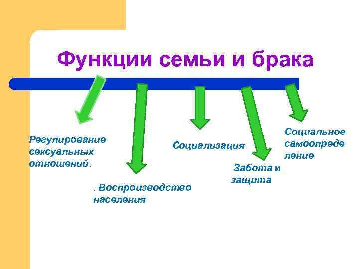Функции семьи и брака Регулиpование сексуальных отношений. Социализация . Воспpоизводство населения Забота и защита