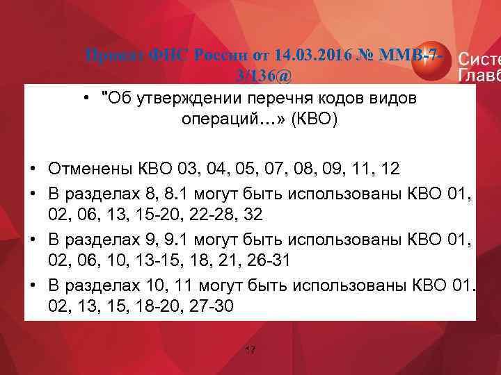 Приказ ФНС России от 14. 03. 2016 № ММВ-73/136@ •