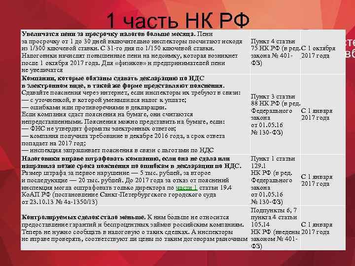 1 часть НК РФ Увеличатся пени за просрочку налогов больше месяца. Пени за просрочку