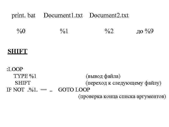 print. bat Document 1. txt Document 2. txt %0 %1 %2 до %9 SHIFT