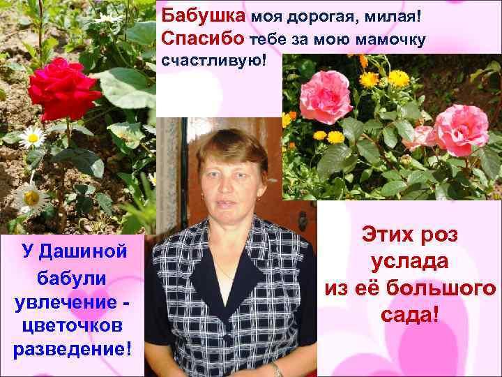 Бабушка моя дорогая, милая! Спасибо тебе за мою мамочку счастливую! У Дашиной бабули увлечение