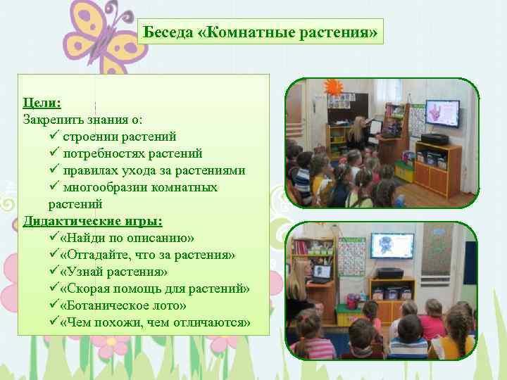 Беседа «Комнатные растения» Цели: Закрепить знания о: ü строении растений ü потребностях растений ü