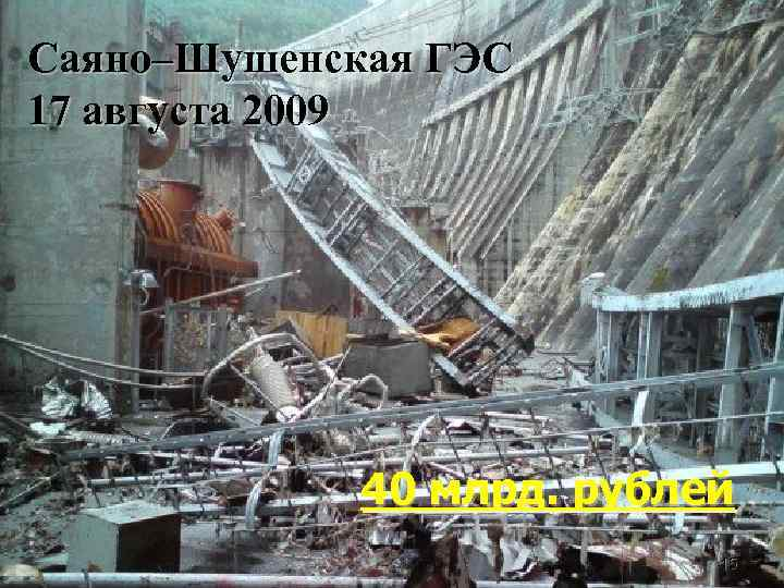 Саяно–Шушенская ГЭС 17 августа 2009 40 млрд. рублей 15