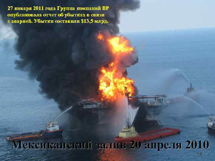 27 января 2011 года Группа компаний BP опубликовала отчет об убытках в связи с