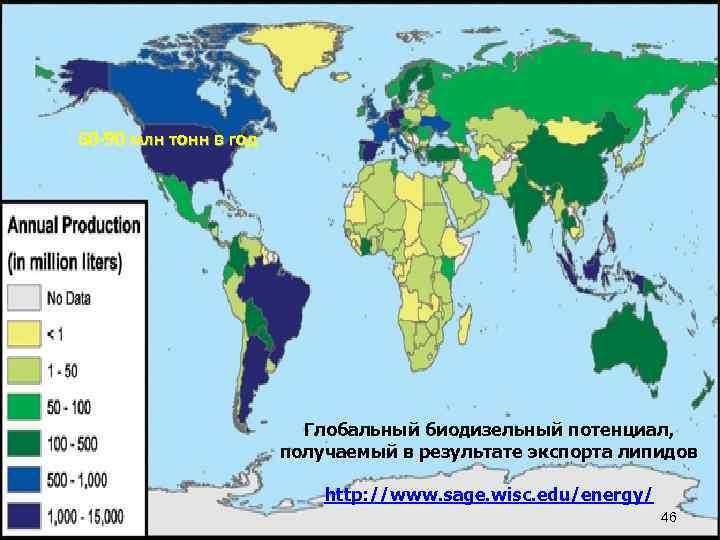 60 -90 млн тонн в год Глобальный биодизельный потенциал, получаемый в результате экспорта липидов