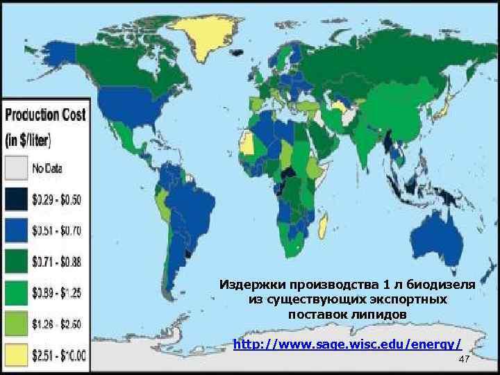 Издержки производства 1 л биодизеля из существующих экспортных поставок липидов http: //www. sage. wisc.