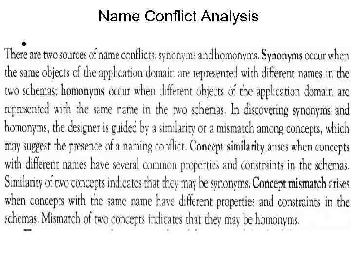 Name Conflict Analysis •