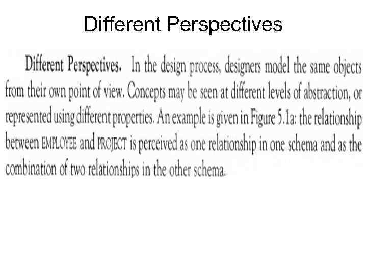 Different Perspectives •