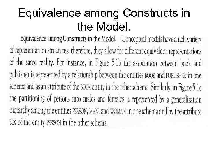 Equivalence аmоng Соnstruсts in the Model.