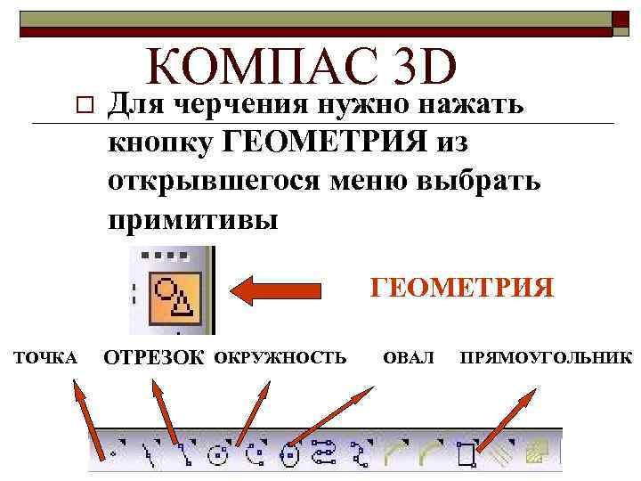 o КОМПАС 3 D Для черчения нужно нажать кнопку ГЕОМЕТРИЯ из открывшегося меню выбрать
